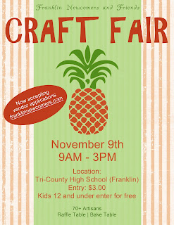 Franklin Newcomers and Friends Club annual Craft Fair - Nov 9