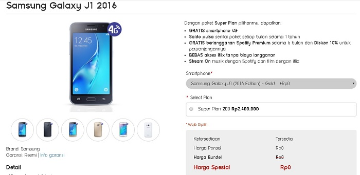 Super Plan 200 Gratis Samsung Galaxy J1 (2016)