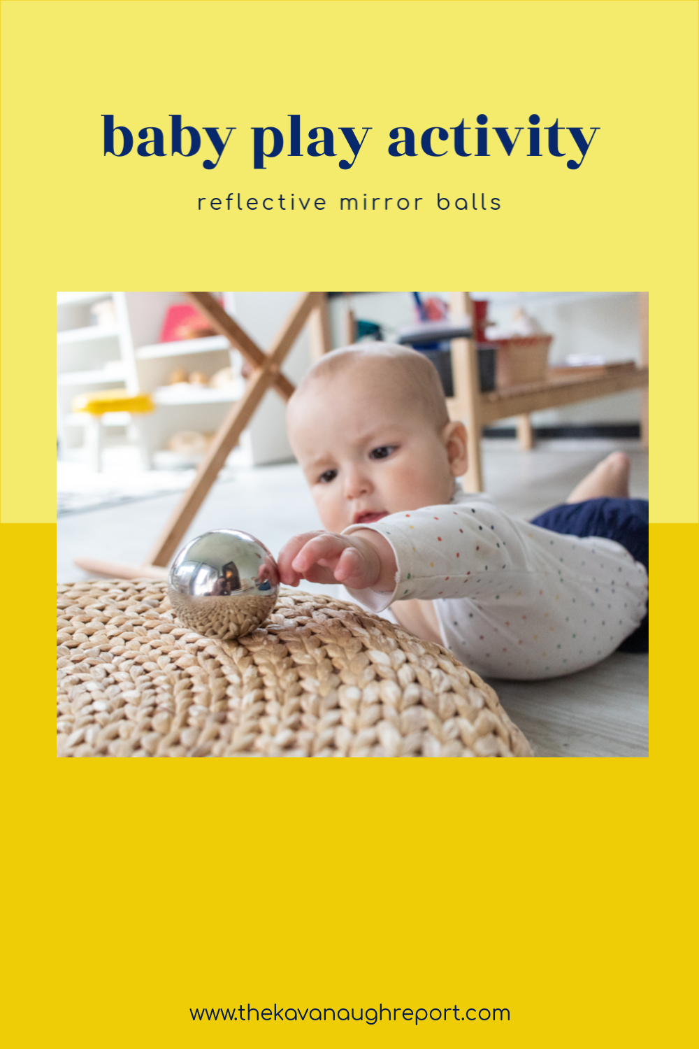Adding a simple toy like these reflective mirror balls can be a fun activity for babies in your Montessori home. Montessori baby activities should encourage movement and sensory development and these are a perfect way to do that.
