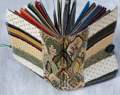 side view of handmade fabric art journal