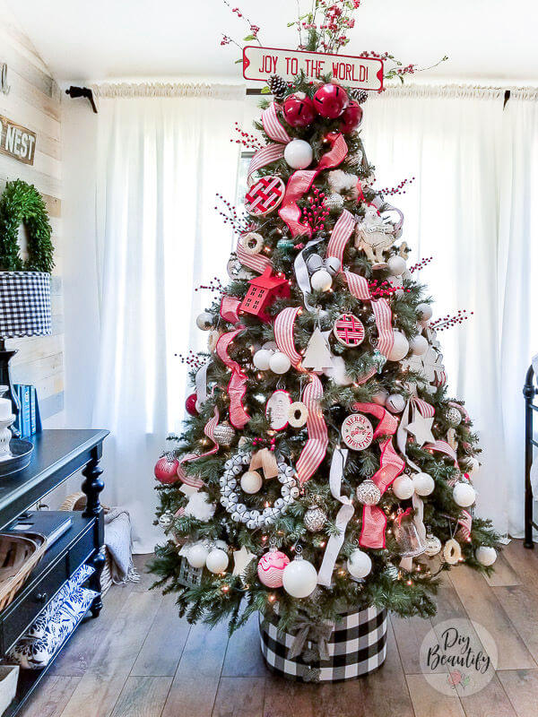 farmhouse Christmas tree with DIY buffalo check tree collar