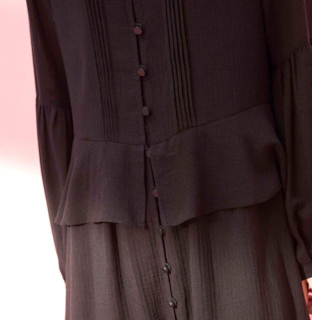 微透光羽長袖古典長洋裝