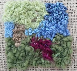 close up of rug hooked landscape