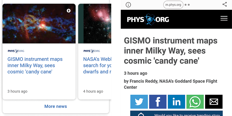 Example of AMP page within Google search results