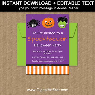 printable kids halloween invites with spider pumpkin frankenstein
