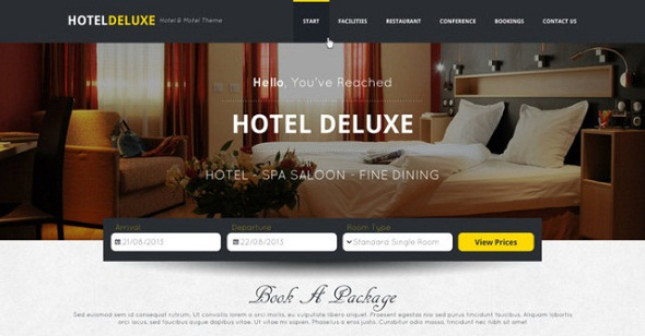 Hotel Deluxe Website PSD Template