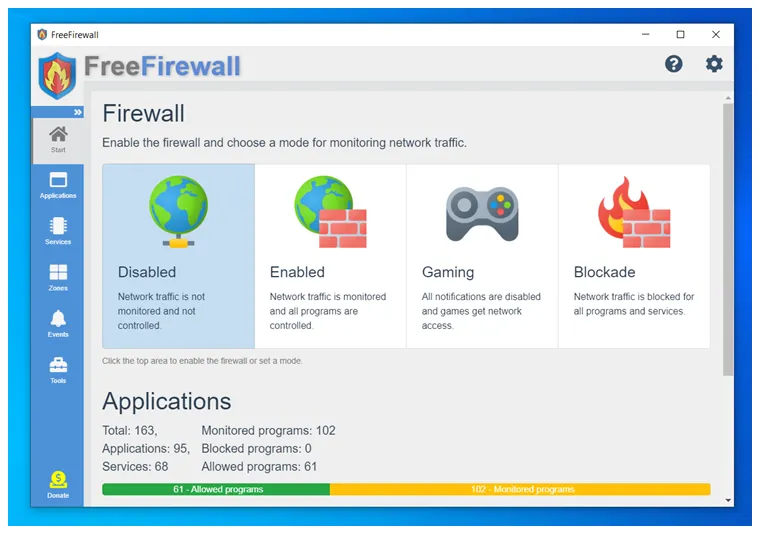 Free Firewall  : Πλήρες, επαγγελματικό τείχος προστασίας για τα Windows