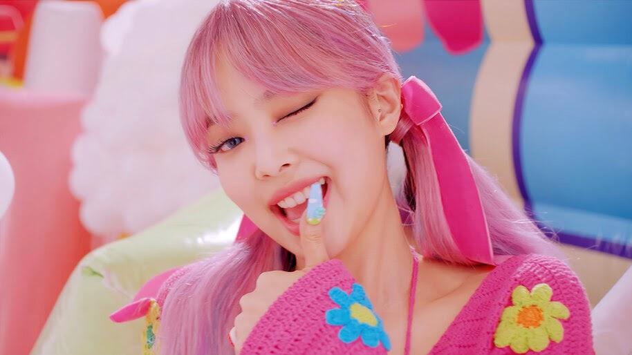 BLACKPINK, Ice Cream, Pink Hair, Jennie, Wink, 4K, #7.2623