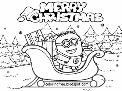 Lovely snowy winter landscape teen drawing Santa claws sledge Christmas Minions pictures to color in