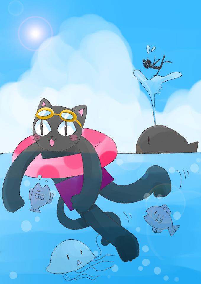 海で楽しそうに泳ぐ黒猫さんのイラストです。