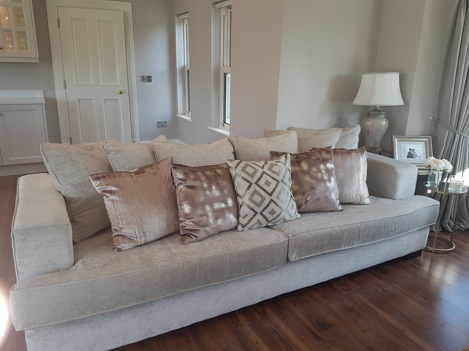 pictures of grey living room furniture small layouts with tv interior edit my the style flamingos i wanted to keep cream tones so went this light velvet fabric for suite know it is such a colour