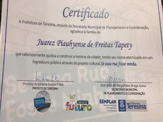 Ex-deputado Juarez Tapety é homenageado com nome de avenida em Teresina