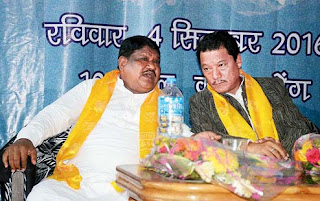 Union tribal affairs minister Jual Oram with GTA chief Bimal Gurung in Kalimpong