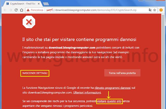 Chrome notifica Il sito che stai per visitare contiene programmi dannosi