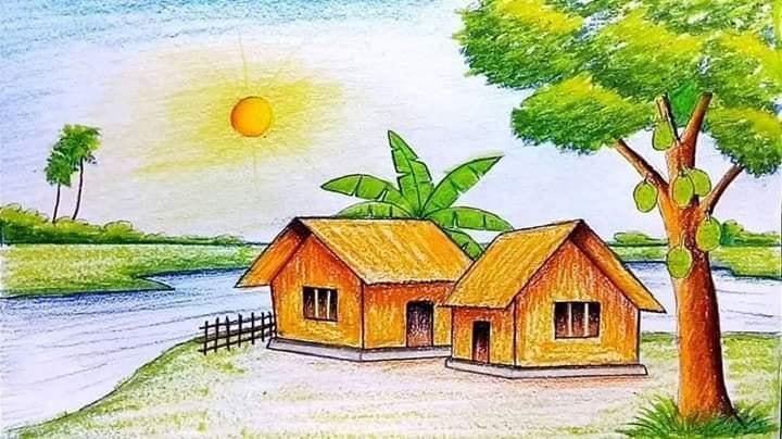 Contoh Gambar Pemandangan dengan Tampilan Sungai dan Rumah Sederhana