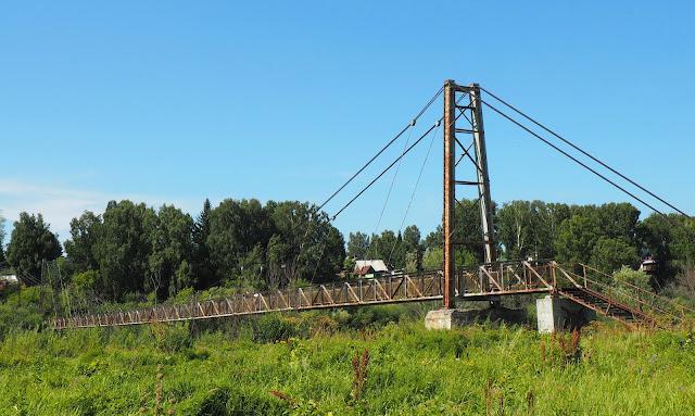 Подвесной вантовый пешеходный мост через Иню - о.п. Паровозный (дальний)