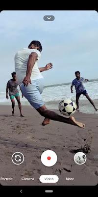 Three people playing ball