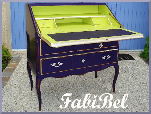 rajeunir secretaire dos d'ane style Louis XV modernize slant top desk