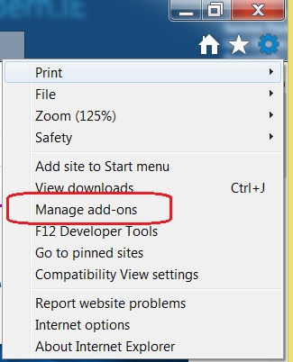 "Open the Internet Explorer settings gear and select ""Manage add-ons"""