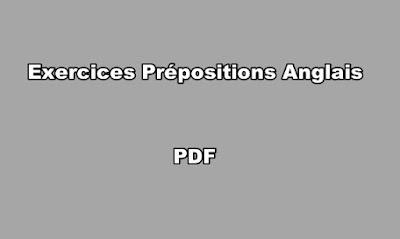 Exercices Prépositions Anglais PDF