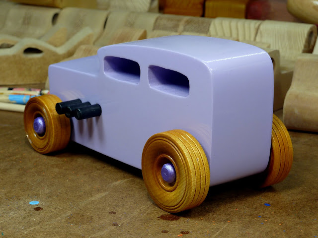 Wooden Toy Car - Hot Rod Freaky Ford - 32 Sedan  Left Rear
