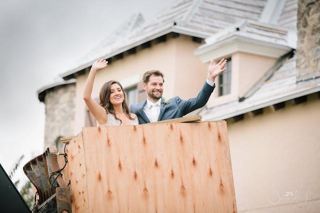 bride and groom in construction crane