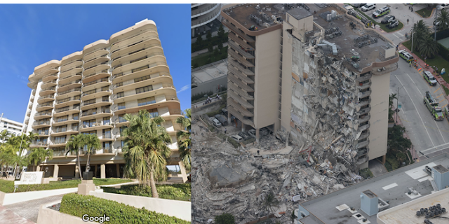 Before and after MIAMI Condo Collapse