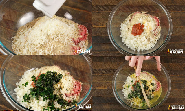 photo collage of steps to make a baked meatball recipe