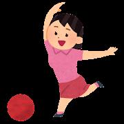 ボウリングをしている女性のイラスト