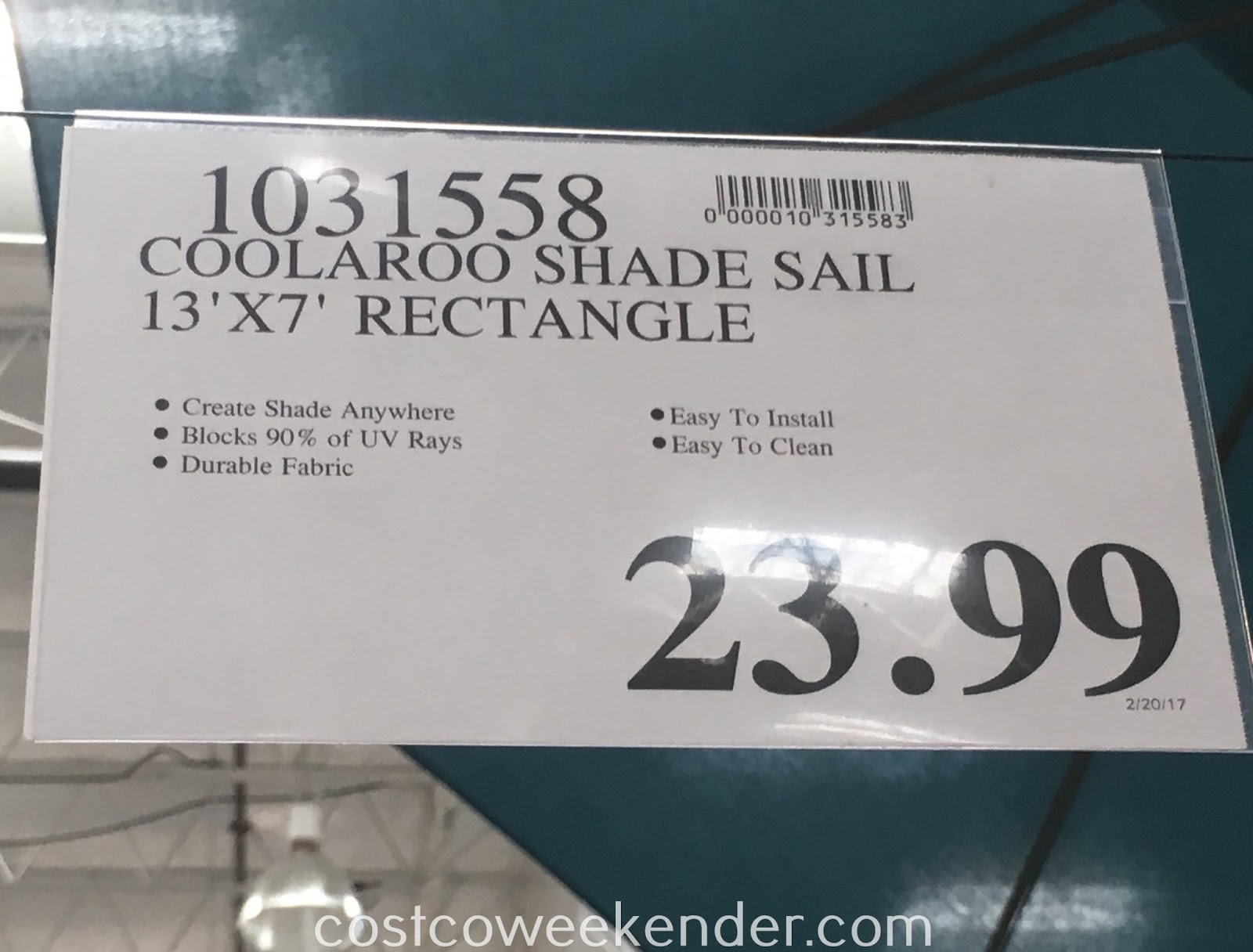 Deal for the Coolaroo Ready-to-Hang Shade Sail at Costco