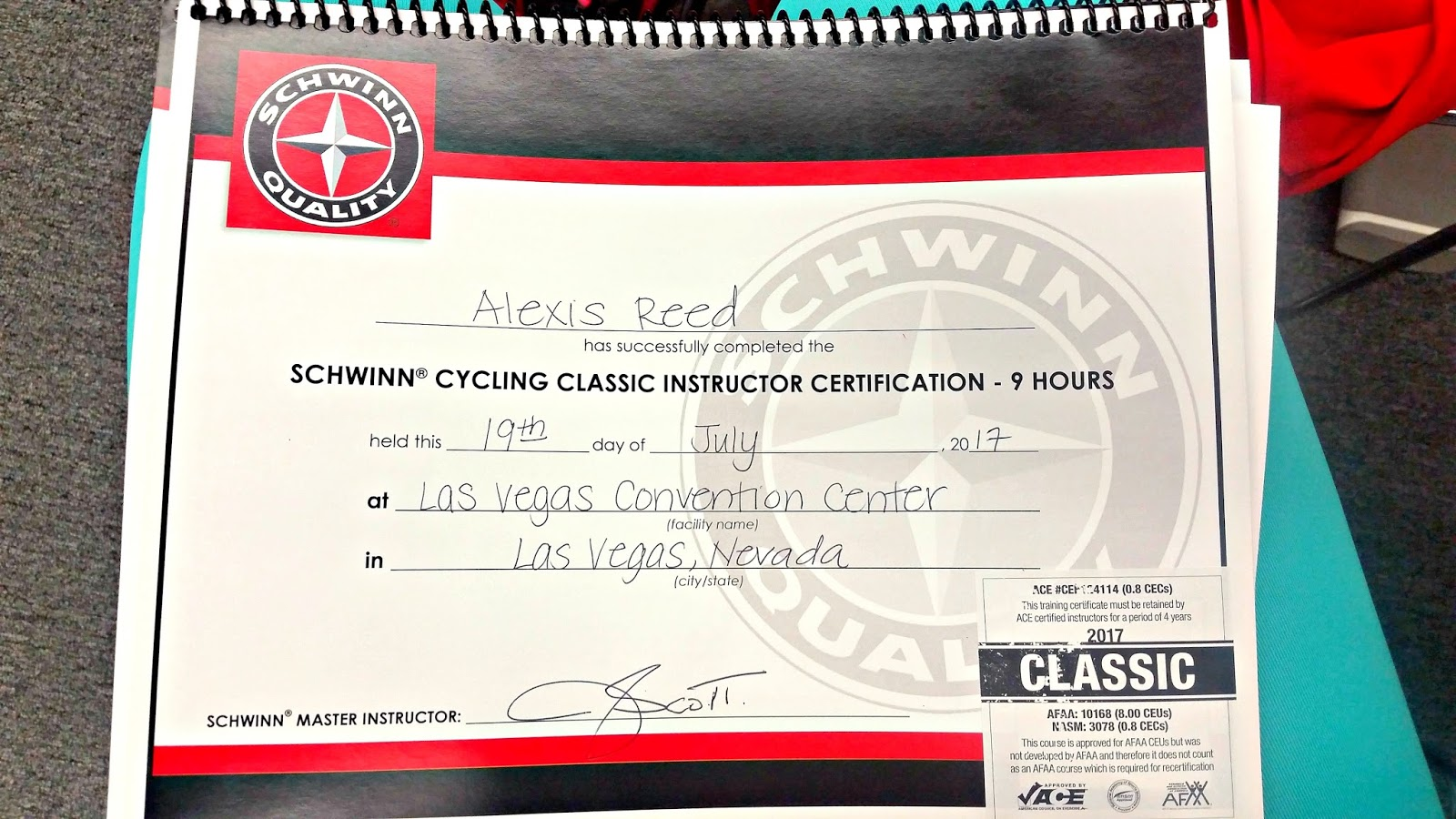 Im a certified indoor cycling instructor flecks of lex tl dr i got my schwinn cycling instructor certification and i cannot wait to start teaching classes i need to earn my group exercise fitness 1betcityfo Gallery