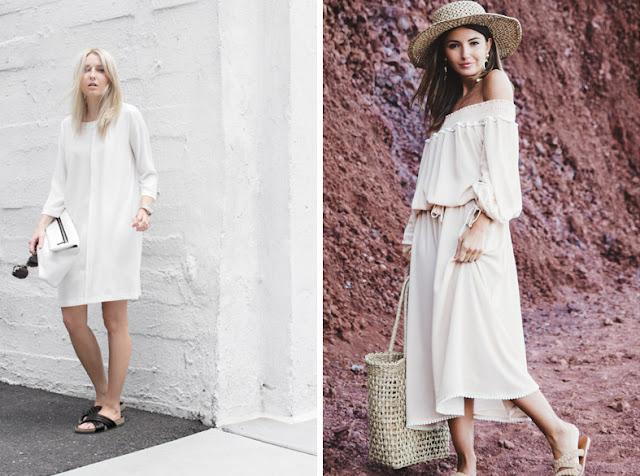 Девушки в белых платьях холодного и теплого оттенка белого