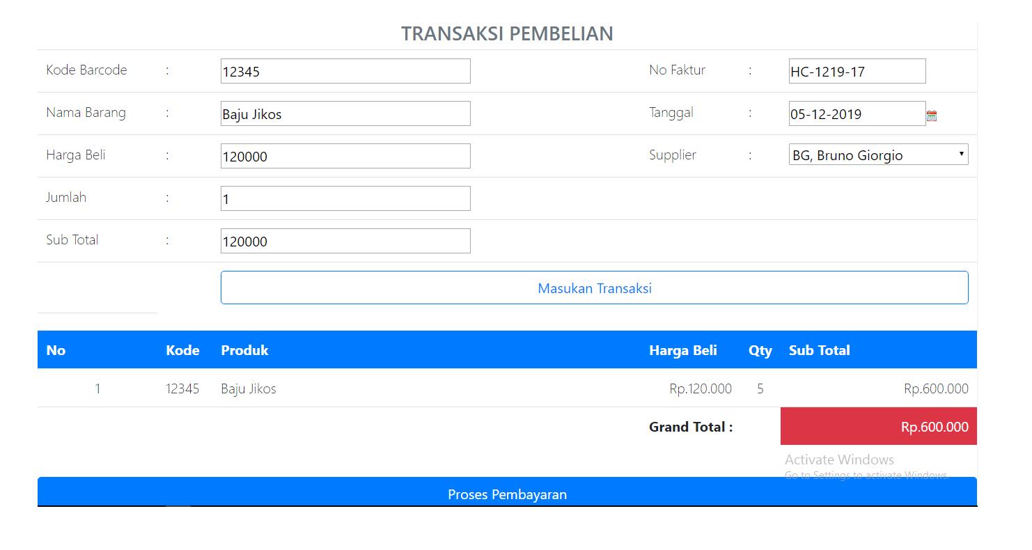 transaksi pembelian APLIKASI PROGRAM KASIR ONLINE TERBARU - SOFTWARE KASIR