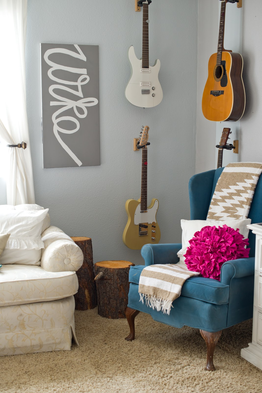Guitar Decor For Bedroom Domestic Fashionista A More Simple And Modern Living Room