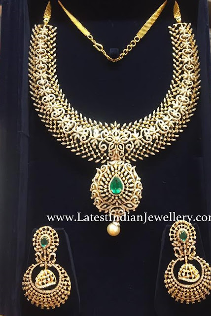 Diamond Emerald Necklace Chandbalis