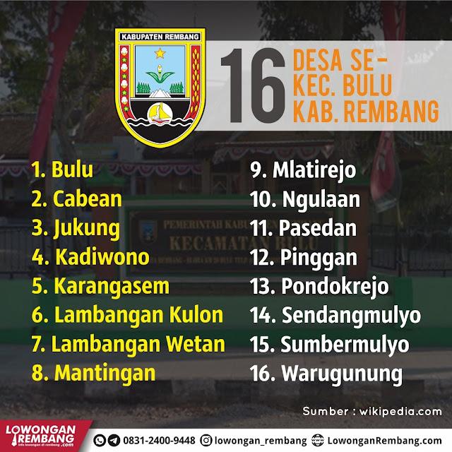 Daftar 16 Desa Se-Kecamatan Bulu Kabupaten Rembang
