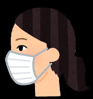 マスクを付けた人の横顔のイラスト(女性)