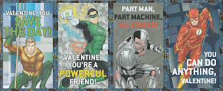 Fornt of first four Justice League Valentines