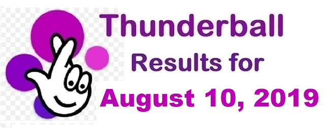 Thunderball results for Saturday, August 10, 2019