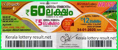 Kerala Lottery Result 24-01-2020 Nirmal NR-157 (Keralalotteryresult.net)
