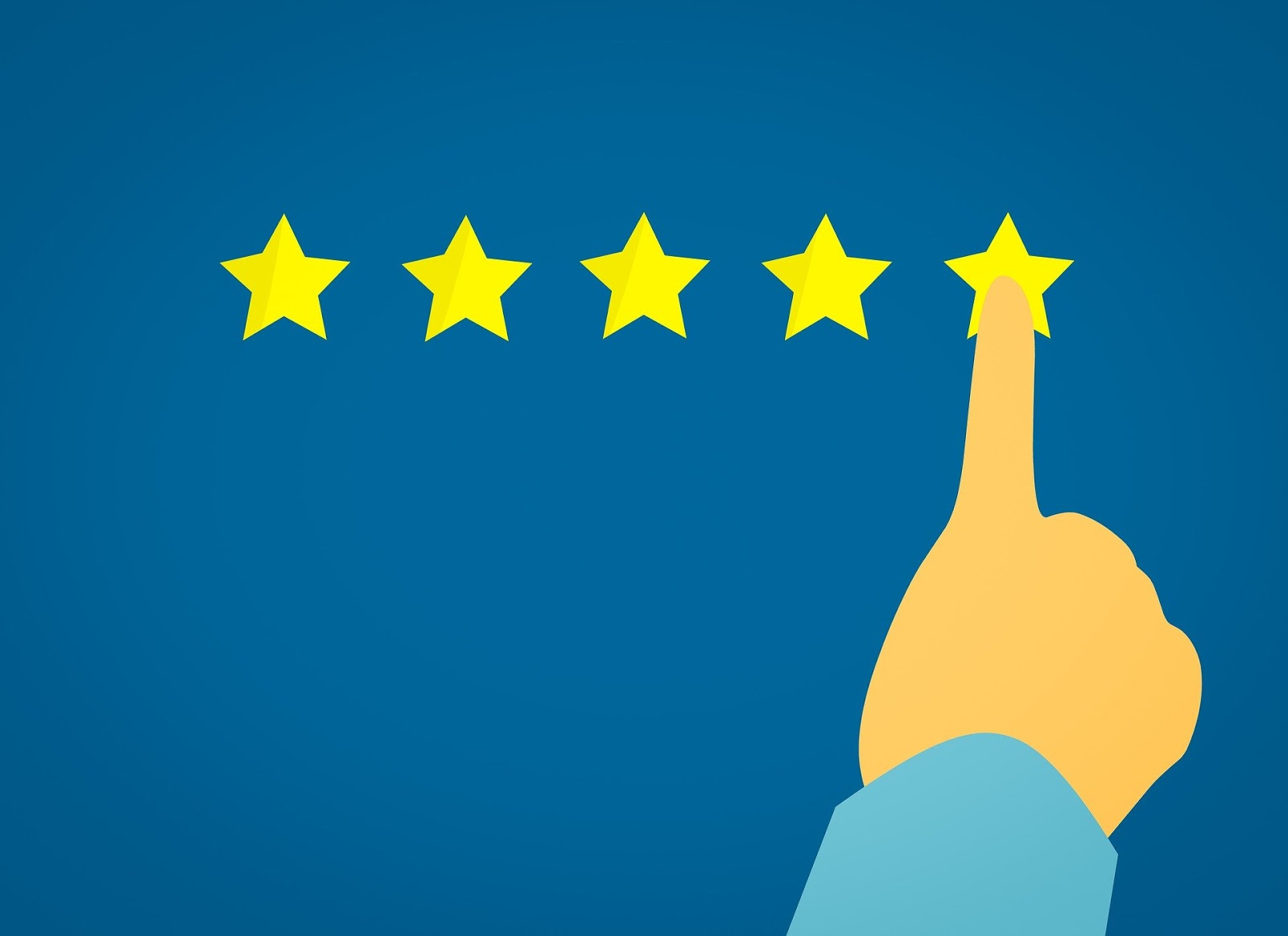 five gold stars in a row with blue background. a human finger points at one star to illustrate a blog post about amazing war movies