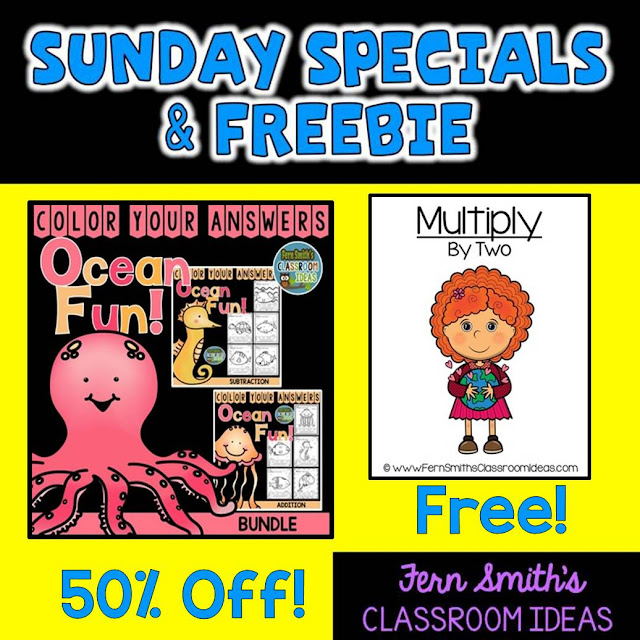 Fern Smith's Classroom Ideas Sunday Special and Freebie: Color Your Answers Ocean Fun and Earth Day Multiply By Two Center Game - Sunday Funday Specials at TpT.