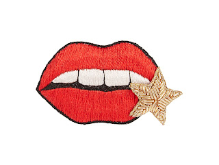 Huda al Nuaimi - Embroidered Lips Brooch - Emoji Jewellery