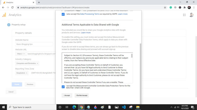 Accept Google Analytics terms of service agreement