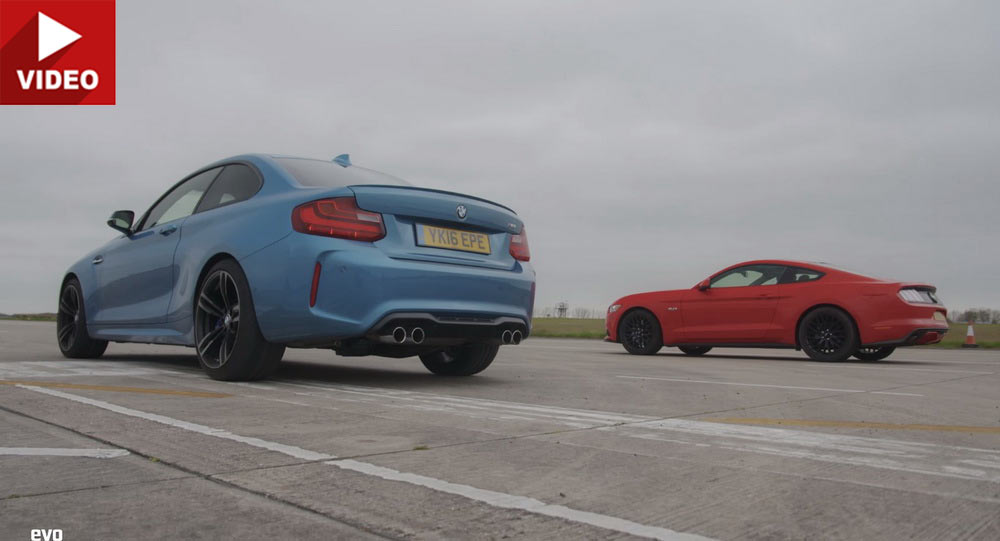 bmw  coupe meets fords mustang    drag race