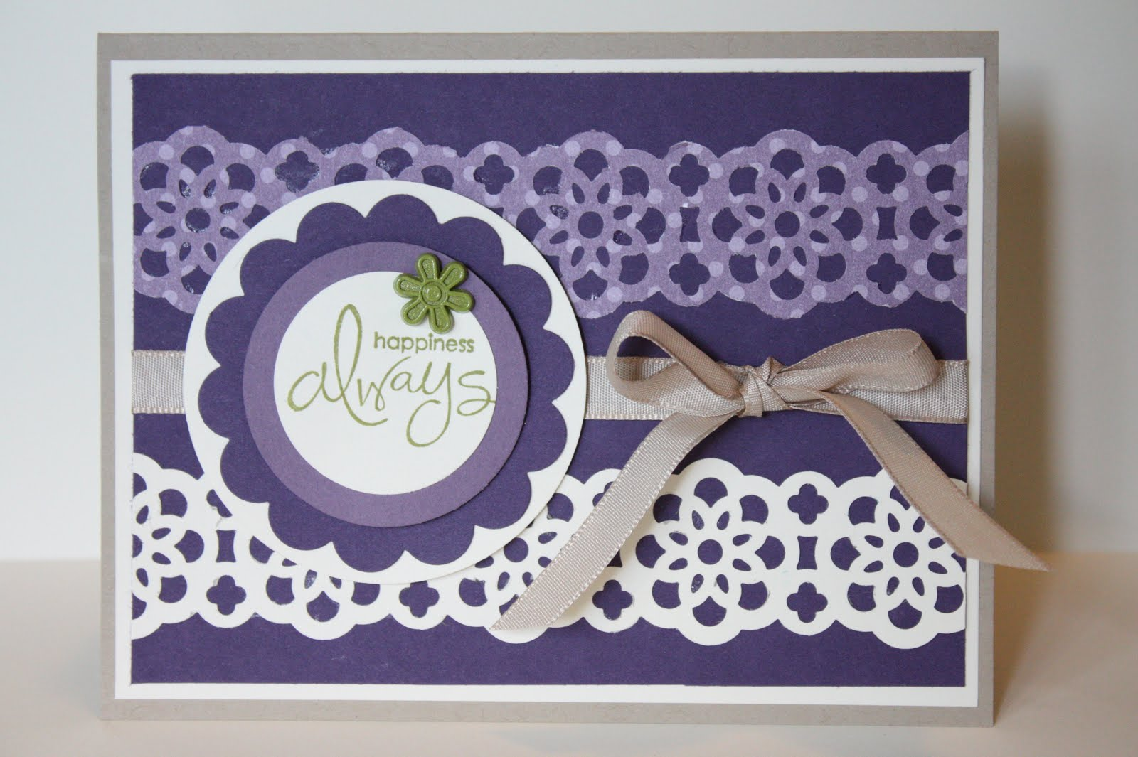 the pursuit of stampin'ess lace ribbon border punch card