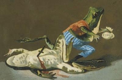 frog crime postcard
