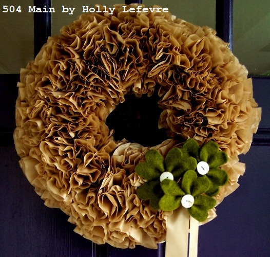 Shamrocks on a coffee filter wreath