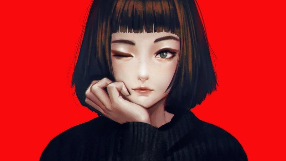 Anime, Girl, Wink, 4K, #4.2013