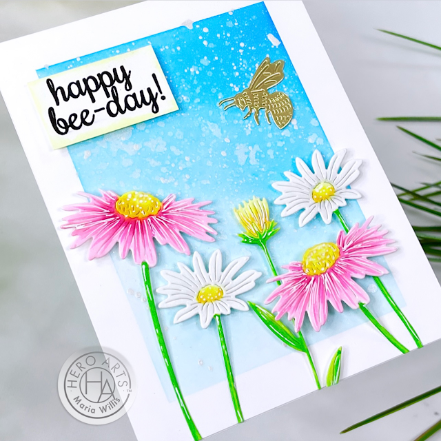 Cardbomb, Maria Willis,Hero Arts, My Monthly Hero Kit January 2021,flowers,bees,stamps,stamping, mixed media, art, die cutting,#hexagon, color,watercolor,ink blending,grunge,